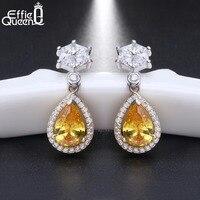 Effie Queen 100% 925 Sterling Zilveren Oorbellen voor Vrouwen Water Drop AAA Cz S925 Vrouw Oorbellen Gift voor Nieuwjaar BE39