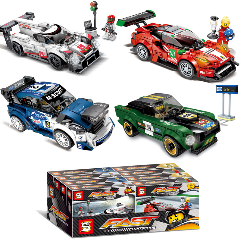 SEMBO Blocks Super Race Car Building Bricks Famous Vehicle Compatible With Legaing Speed Educational Summer Holiday Gifts Kids