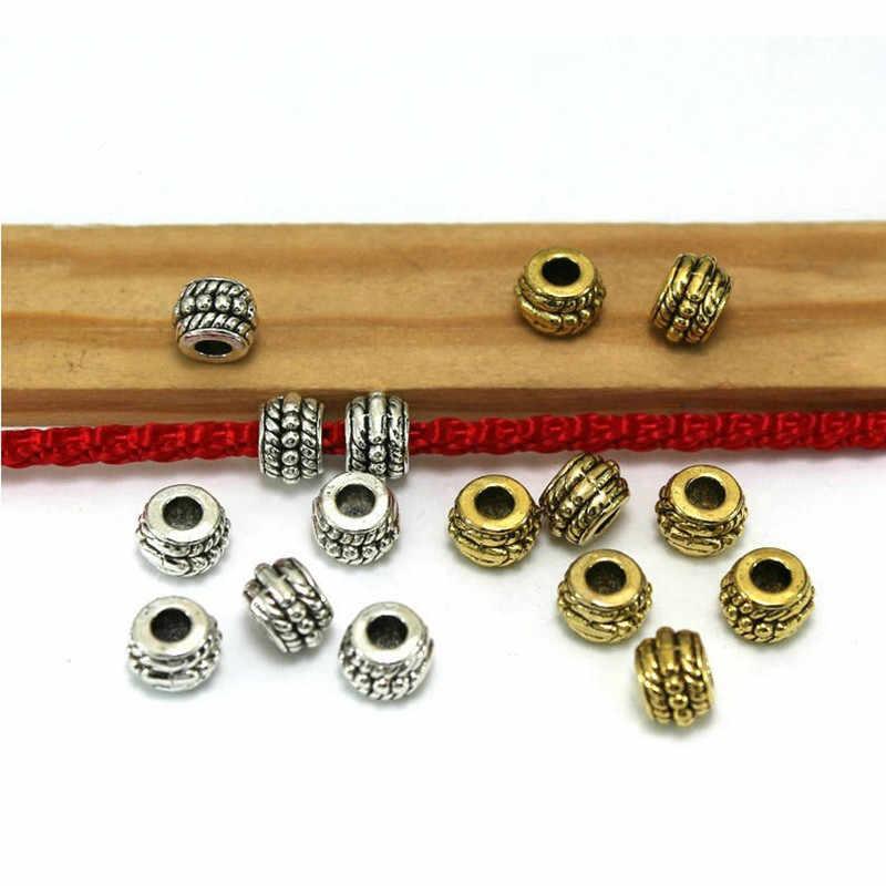 30 Uds. Cuentas espaciadoras de 8mm con agujero grande de plata antigua tibetana europea para hacer joyería artesanal DIY