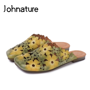 Johnature Genuine Leather Slides Floral Summer Outside Slippers Flat With Totem Simple Comfortable Hollow Women Shoes