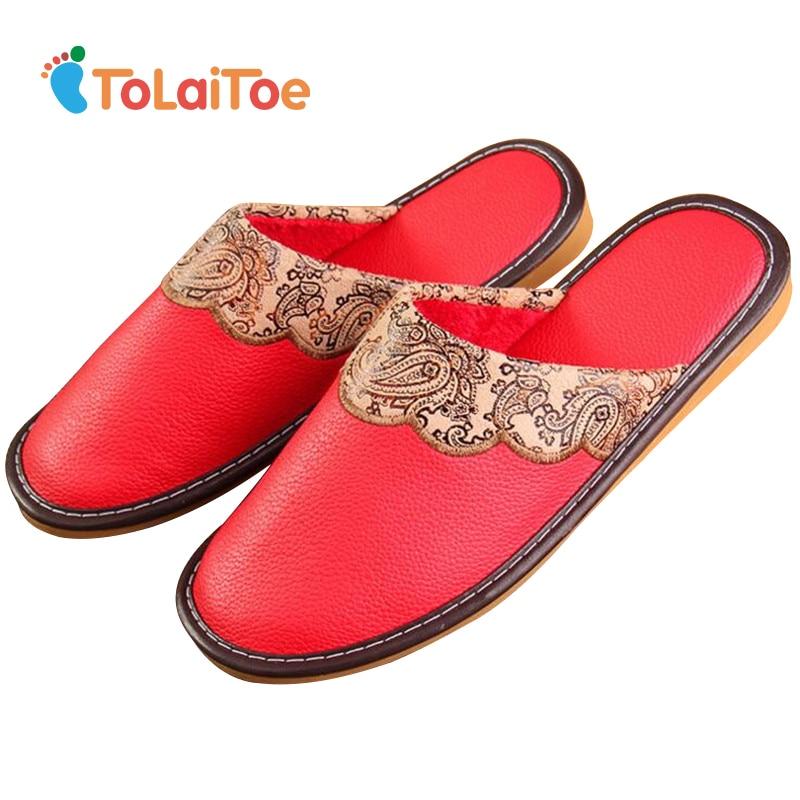ToLaiToe Mujeres Invierno Cálido Algodón Zapatilla de Cuero Parejas - Zapatos de mujer