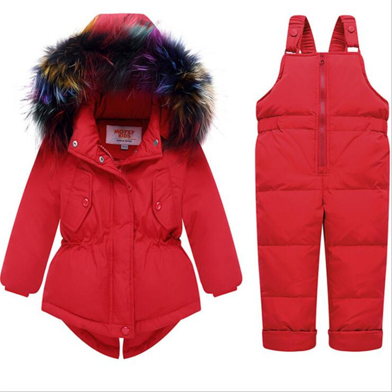 Winter Girls Clothing Sets Outdoor Windproof Children Clothes Suits Thickening Down Jackets Overalls Kids Suits Warm Winter Coat недорого
