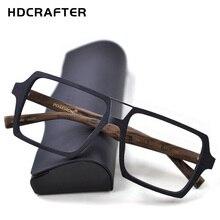 HDCRAFTER Montura de gafas cuadradas Vintage de gran tamaño con lentes transparentes, gafas ópticas de madera para hombres y mujeres, monturas graduadas