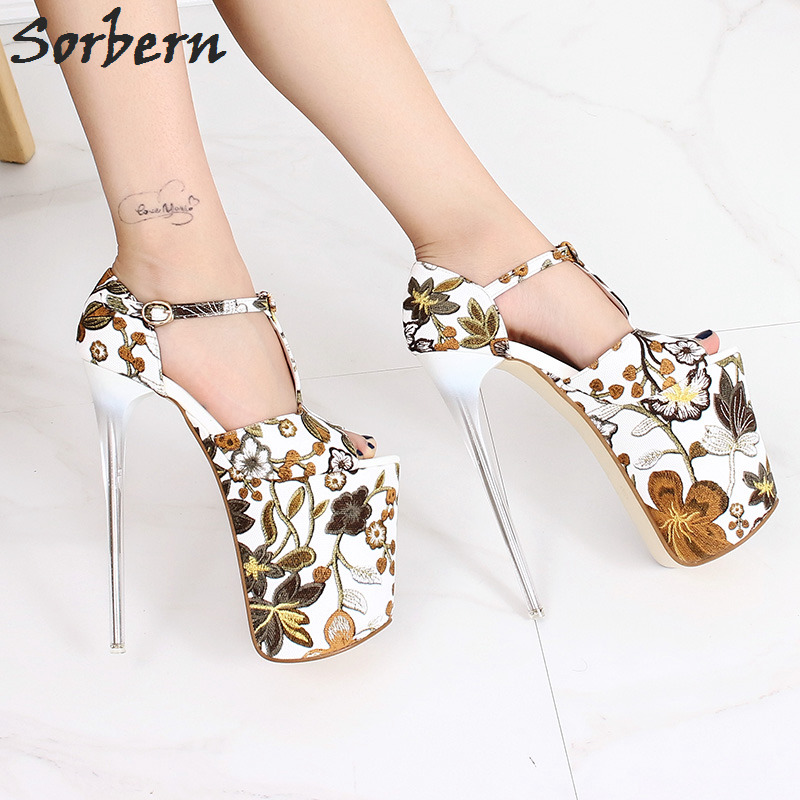 Sorbern Flower Women Pumps T-Straps Peep Toe Extreme High Heels 19Cm Ladies Shoes Heels Size Us Size 10 Women Shoes Autumn sorbern high heels pumps womens shoes platform autumn women shoes plus size ladies party shoes 2017 new arrive peep toe zipper