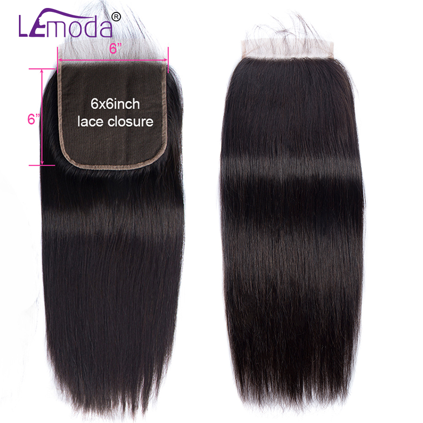 6x6 Lace Closure Straight Closure Lemoda Swiss Lace Closure Pre Plucked With Baby Hair Natural Hairline Brazilian Remy Hair