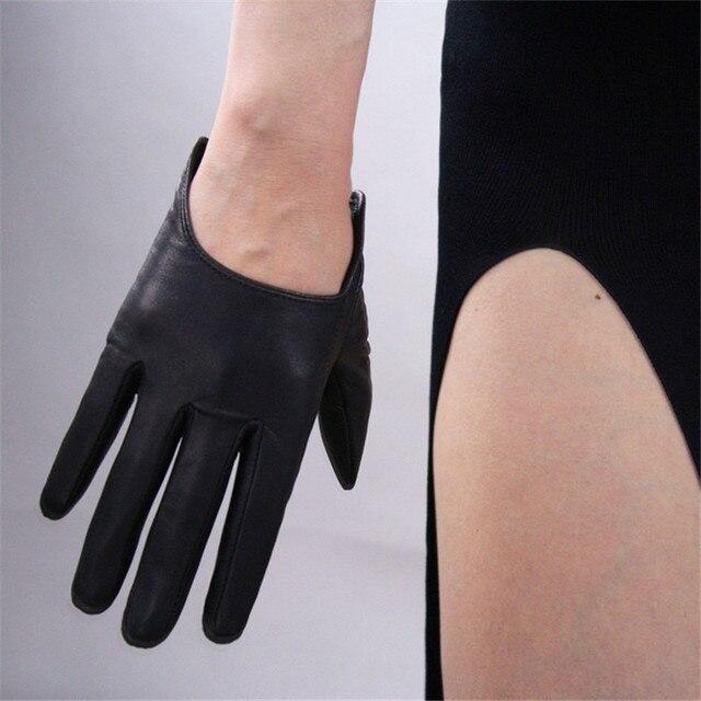 Guantes de piel de cabra importados puros de cuero genuino guantes de mujer de estilo Ultra corto negro Punk Rock locomotora calle mujer TB77