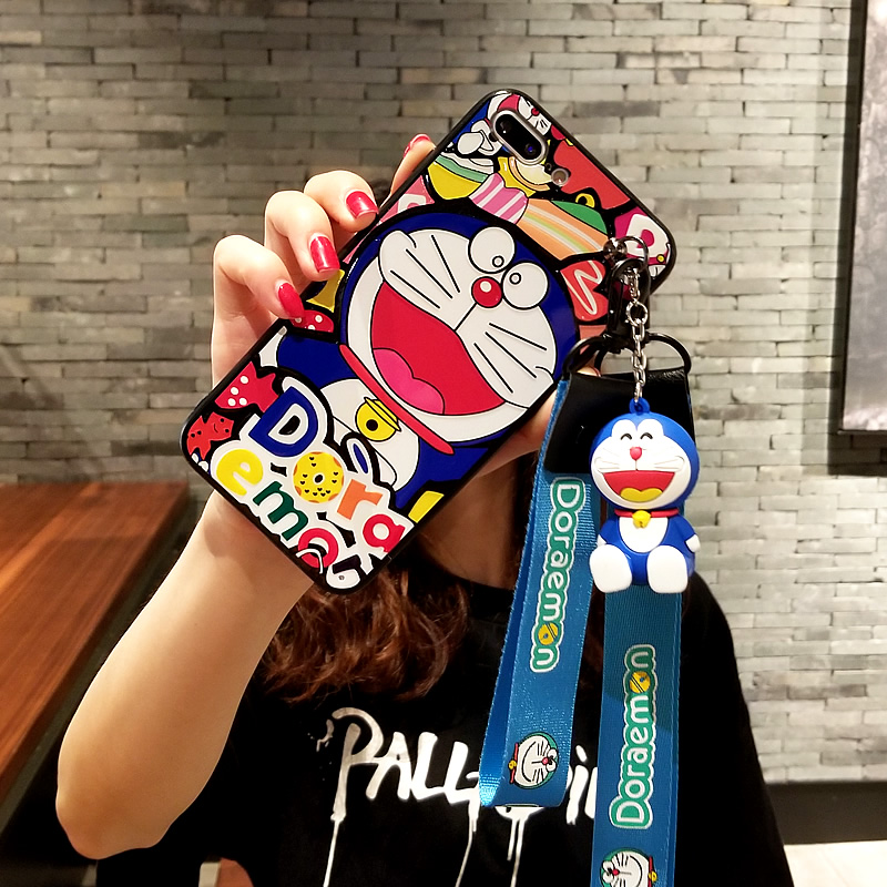 For iPhone 8 stand case Doraemon phone cover for iPhone X 8 8plus/6 6s plus hard case for iPhone 7 plus + 3D toy holder + 2strap