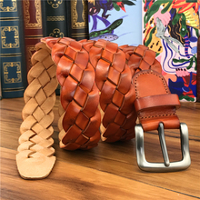 Mens Braided Leather Belt  Top Quality Hand Made Luxury Wide Genuine Belts For Women Ceinture Men MBT0508