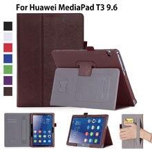 Funda Para Huawei MediaPad T3 10 AGS-L09 AGS-L03 9.6 pulgadas Funda Tablet para Honor Juego Pad 2 9.6 Soporte Del Tirón de LA PU caso + Película + Pluma