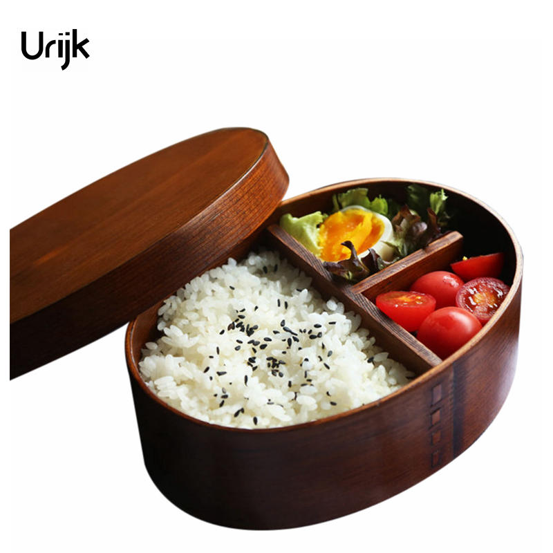 Urijk Wooden Lunch Boxes for Food Japanese Style Sushi Bento Lunchbox for Kids School Outdoor Dinnerware Bowl Food Container