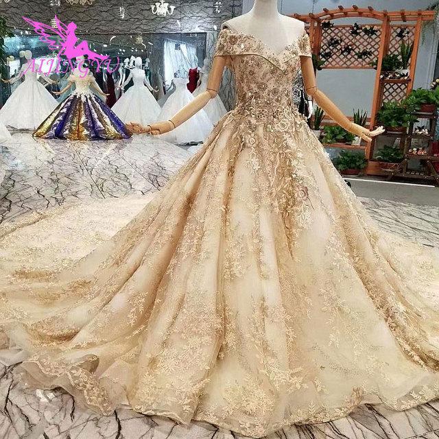 AIJINGYU חתונה שמלות קנדה לקנות יוקרה נישואים באינטרנט בטורקיה שני באחד אירוסין סקסי רעלה חתונה כלה חנויות
