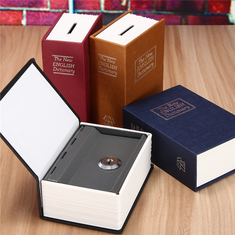Home Security Simulation Dictionary Book Case Cash Money Jewelry Locker Secret Safe Storage Box With Key Lock