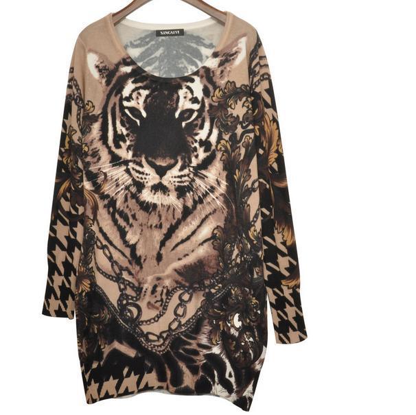 Europeo de las nuevas mujeres del tigre de impresión suéter largo suéter flojo q