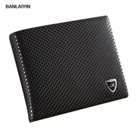 Men's Leather Bifold Wallet Pockets ID Credit Money Clip Purse Black