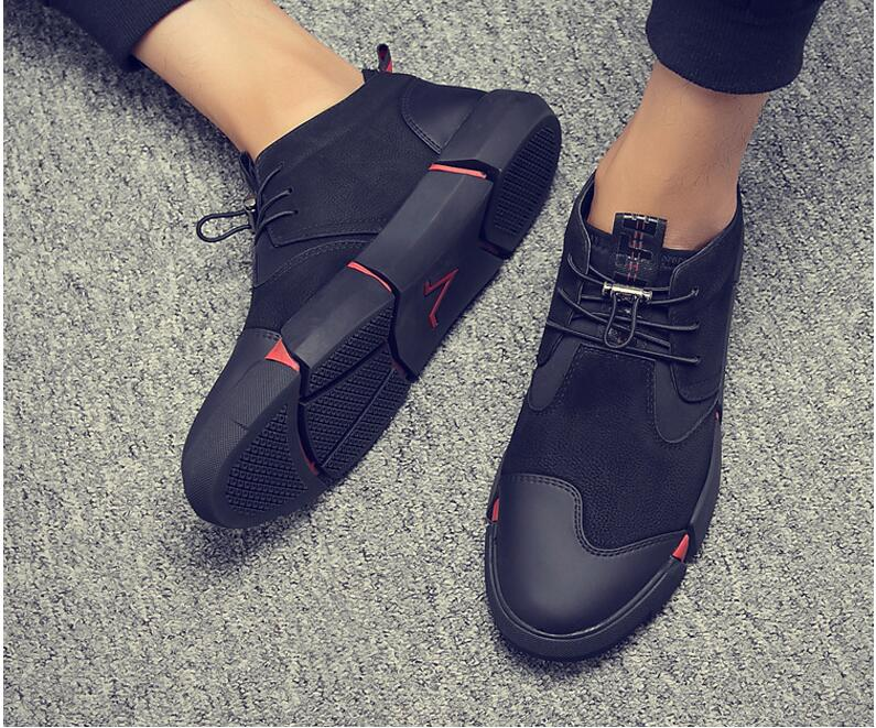 HTB191AkwnqWBKNjSZFAq6ynSpXaa Brand High quality all Black Men's leather casual shoes Fashion Sneakers winter keep warm with fur flats big size 45 46 LG-11