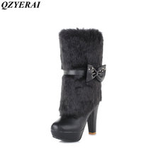 QZYERAI Europe winter ultra high heel female boot to the knee rabbit hair women shoes fashion trend