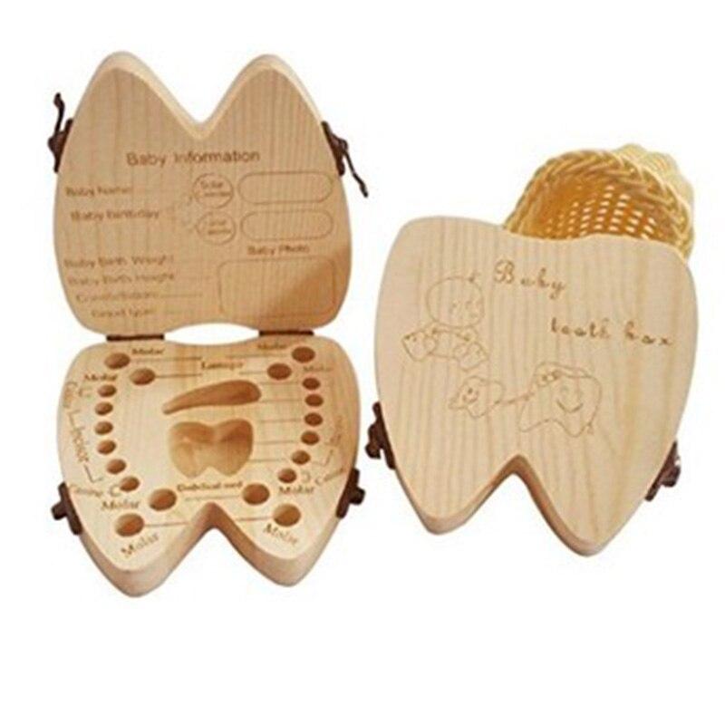 Newbron Teeth Box Wood Storage Box For Baby Kids Tooth Box Organizer Storage Kids Milk Teeth Collect Organizan Door English Case