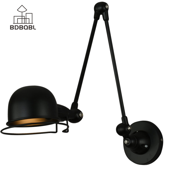BDBQBL Loft Vintage Industrial Adjustable Wall Lamp E14 LED Wall Lights For  Bedroom Living Room Dining