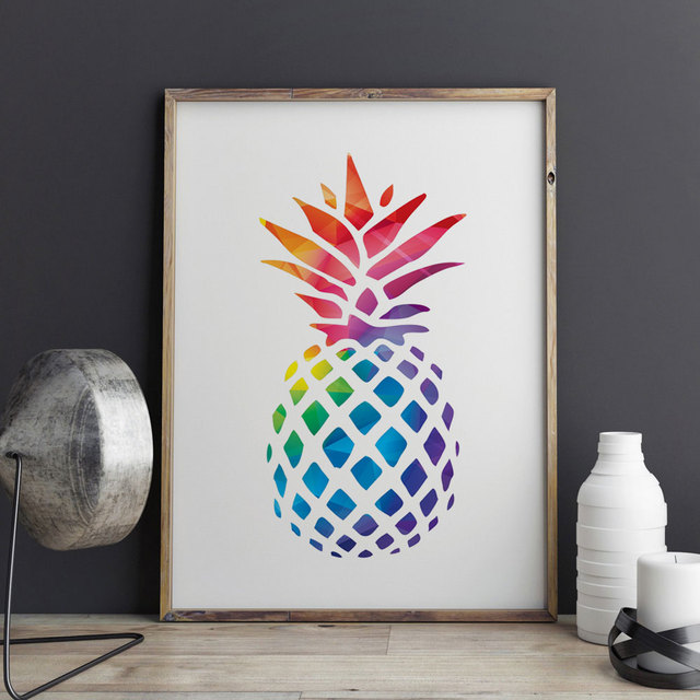 ananas art imprimer peinture g om trique d coratif nursery ananas image home decor enfants. Black Bedroom Furniture Sets. Home Design Ideas