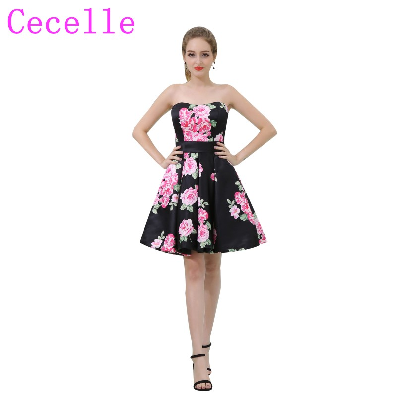 New Black Short Floral Print   Cocktail     Dresses   2019 Sweetheart Semi Formal Teens Fashion   Cocktail   Party   Dress   Robe De   Cocktail