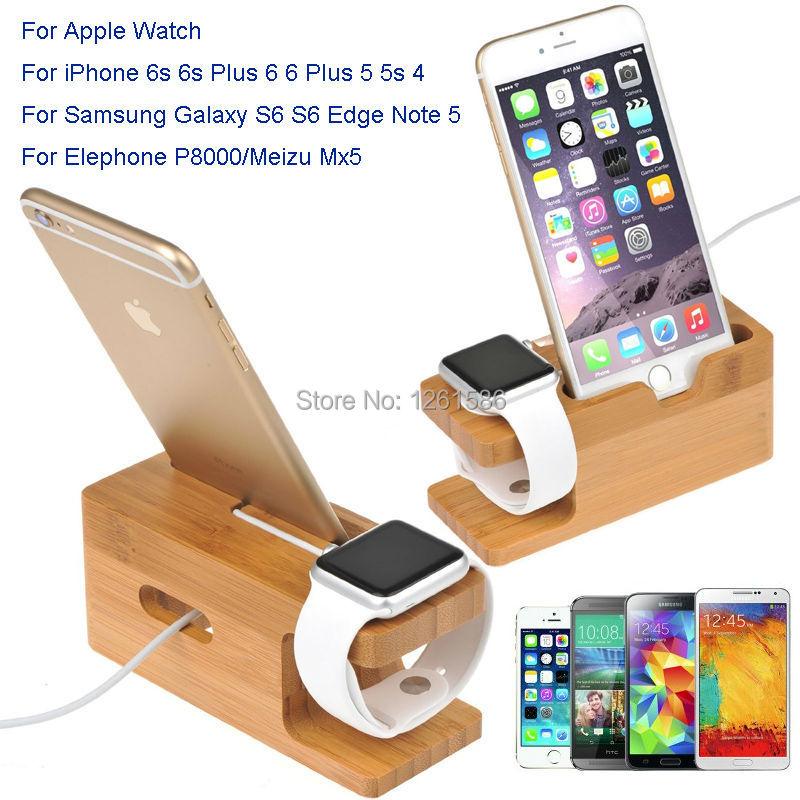 bilder für Für Alle Apple Uhr 38/42 MM/Für iPhone 6 S 7 PLUS/C5 HINWEIS 7/2 für Huawei Uhren Ständer Holz Bambus Ladestation ich Uhr Halter