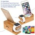 Para todos apple watch 38/42mm/para iphone 6 s 7 plus/c5 nota 7/2 para huawei relojes soporte base de carga de madera de bambú i reloj titular
