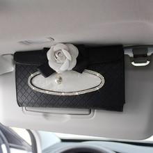 Crystal Car Tissue Box Sun Visor Camellia PU Leather Auto Tissue Bag Sunvisor Hanging Holder Case