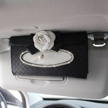 Crystal Car Tissue Box Sun Visor Camellia PU Leather Auto Tissue Bag Sunvisor Hanging Holder Case Napkin For Car Accessories