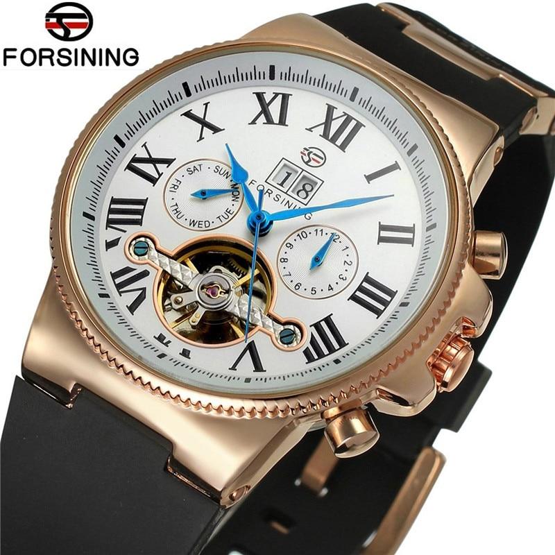 Business Forsining Watches Men Auto Mechanical  Brand Day Roman Number Flywheel Watch Wristwatch Gift Free Ship
