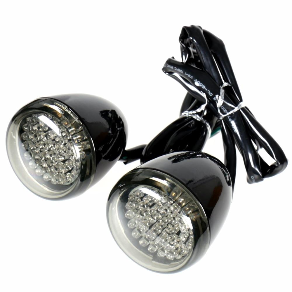 Gloss Black Deuce Bullet Rear LED Turn Signal Smoked Lens For Harley Street Glide Softail Dyna