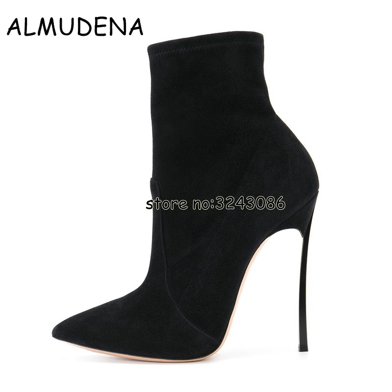 Black Suede Thin High Heels Short Boots Sexy Pointed Toe Woman Ankle Booties Blade Metal Heels Fashion Boots Shoes Top Quality