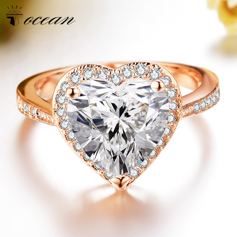Tocean Rose Gold Color Wedding Ring for Women Heart Cute LOVE Zircon Engagement Femme Bijoux Bague Size 5 6 7 8 9 10 11 12 W013