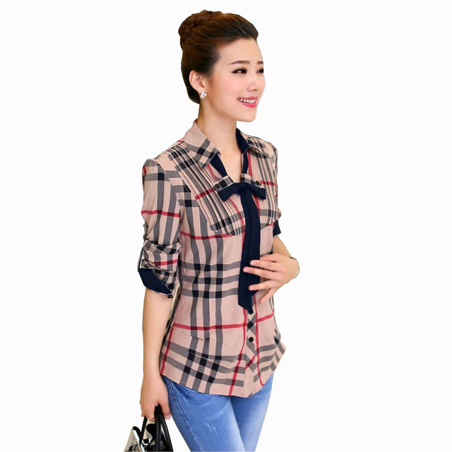 d57f526a426 Sale Long Sleeve Plaid Shirts For Women Vintage Bowknot Buttons Blouse  French Check Blouses Ladies Office