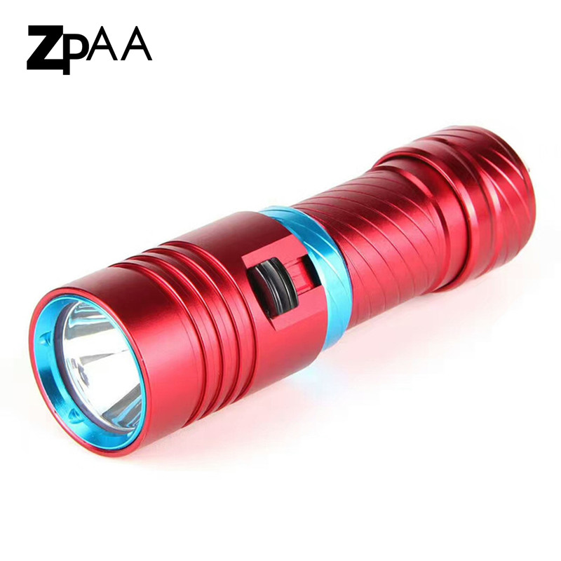 ZPAA Diving flashlight xml L2 lamp 80M Scuba lantern flashlight LED Underwater torch 18650 or 26650 rechargeable battery boruit 10000lm underwater 200m flashlight 5 xml l2 led scuba diving flash light torch lantern 18650 or 26650 battery