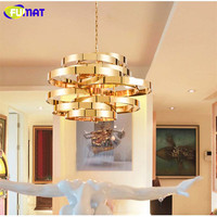 FUMAT Gold Cyclone Light Fixtures Stainless Steel Droplight Modern Living Room Chain Hanging Lamps Hotel Art Deco Pendant Lamps