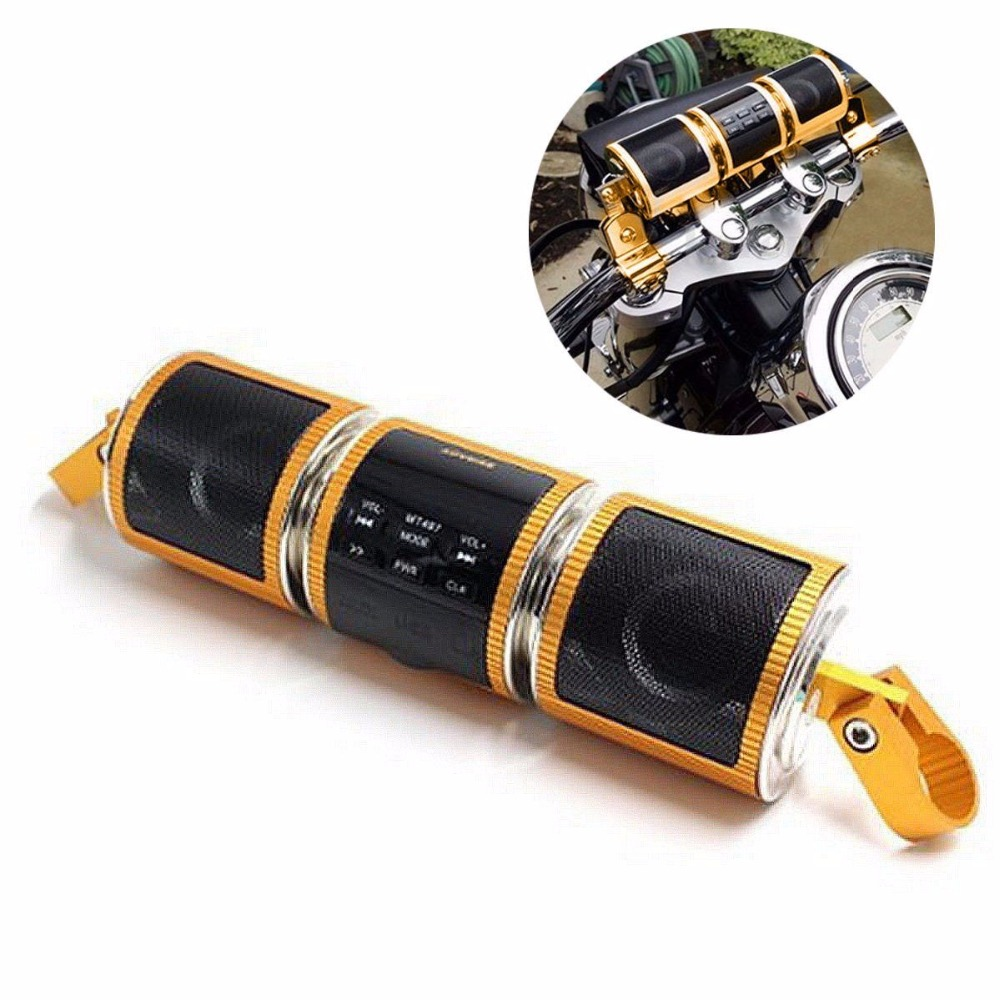 Waterproof Bluetooth Motorcycle Audio Stereo MP3 FM Radio Speaker Handlebar Moun Gold For BMW Harley Honda Kawasaki Yamaha t15b 5w 15w audio wireless bluetooth fm transmitter broadcast radio station 87 108mhz power supply for car gold silver