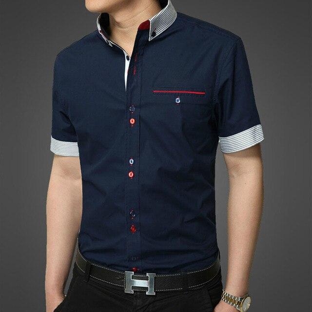 Особое пряжка 3 цвета блок короткий рукав хлопок рубашка мужчины приталенный fit рубашки мужчины в рубашки camisa masculina