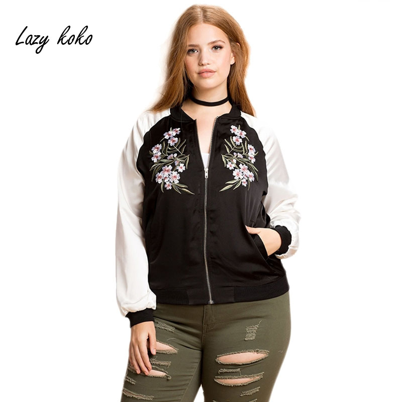 Lazy Koko Plus Size College Style Flower Embroidery Baseball Coat Fashion Jacket Casual Loose Streetwear Women Coats Jackets