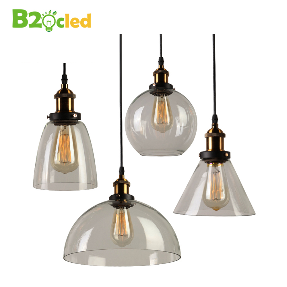 Retro Clear Glass Lampshade Loft pendant lights lamp E27 LED bulbs Drop light Bar Cafe Bedroom Restaurant American Country Style loft american edison vintage industry crystal glass box wall lamp cafe bar coffee shop hall store club