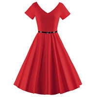 High Quality Vintage Dress 1950s 60s Retro Vestido Women Short Sleeve V Neck Swing Pleated Dress