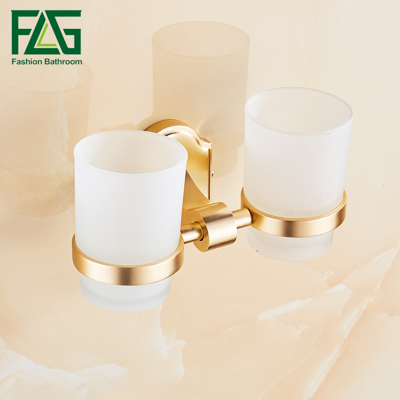 FLG Bathroom Cup Holder Wall Mounted Tooth Brush Tumbler Holder Golden Finish Space Aluminum Bathroom Accessories flg bathroom accessories wall mounted tumbler holder cup