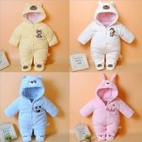 Autumn Winter Baby Thick Cotton The Climb Clothes Children Coral Fleece Thickening Long Sleeved Jumpsuits Boys