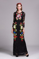 2016 Fall New Flower Embroidery Lace Dress Hollow Out Long Sleeve Party Dress Slim Long