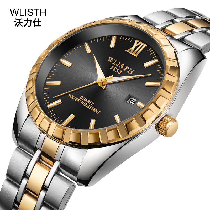 Top Quality Fashion Men Watch Lovers Gold Stainless Steel Wristwatch Calendar Date Clock Wlisth Brand Luxury Women Waterproof