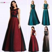 BATA de Soiree Longue elegante negro encaje rojo Vestido de fiesta largo barato apliques de gasa vestidos de noche Vestido de fiesta