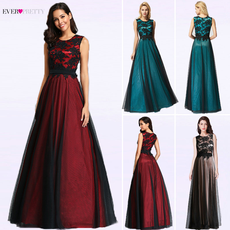 Robe de Soiree Longue Elegant Black Lace Red Prom Dress Long Cheap Appliques Chiffon Evening Gowns Vestido de Festa