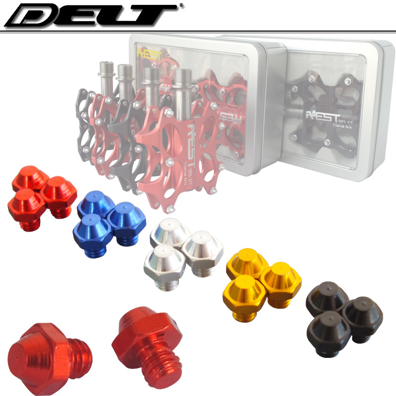 M4*4mm Cycling bike bicycle Pedal screws Skid-proof Platform bolts nuts M4 x 4MM Alloy red blueblack gold silver