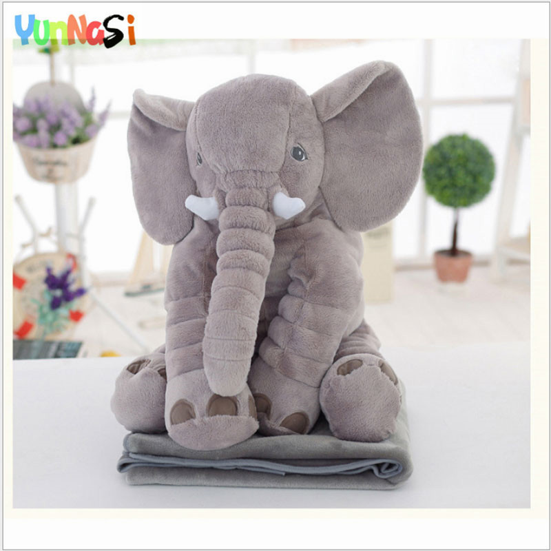 YunNasi 60cm Pillow Elephant Plush Toys Sleeping Baby Stuffed Animal Elephant Toy With Blanket Birthday For Girls Kids Toys Soft 40 60cm elephant plush pillow infant soft for sleeping stuffed animals plush toys baby s playmate gifts for children wj346