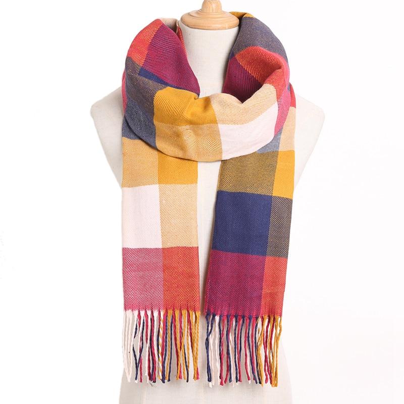 [VIANOSI] клетчатый зимний шарф женский тёплый платок одноцветные шарфы модные шарфы на каждый день кашемировые шарфы - Цвет: 03