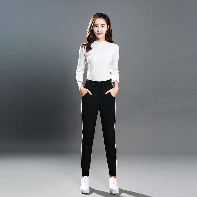 2019 Winter Womens Sports Down Pants Outdoor High Waist Slim Thick White Duck Down Pants Large Size Warm Beam Foot Pencil Pants